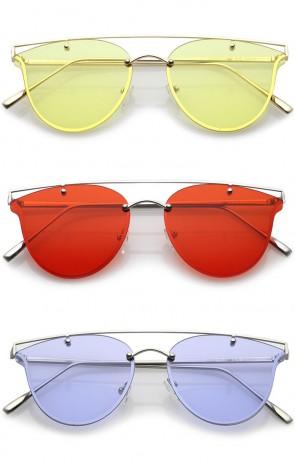 Modern Crossbar Horn Rimmed Round Flat Lens Rimless Sunglasses 52mm
