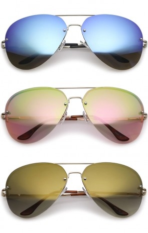 Oversize Crossbar Metal Slim Arms Teardrop Mirrored Lens Rimless Aviator Sunglasses 65mm
