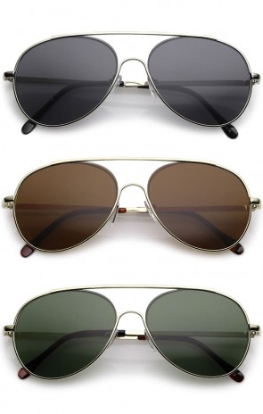 Classic Crossbar Slim Metal Arms Teardrop Lens Aviator Sunglasses 55mm