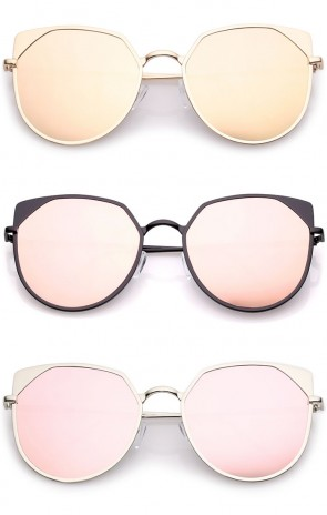 Women's Oversize Pink Colored Mirror Flat Lens Cat Eye Sunglasses 59mm
