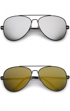 Classic Straight Metal Crossbar Slim Arms Teardrop Mirrored Flat Lens Aviator Sunglasses 59mm
