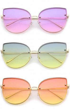 Women's Oversize Slim Metal Rimless Gradient Flat Lens Cat Eye Sunglasses 61mm