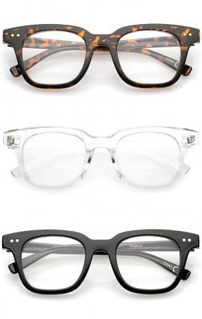Modern Metal Rivets Square Clear Flat Lens Horn Rimmed Eyeglasses 46mm