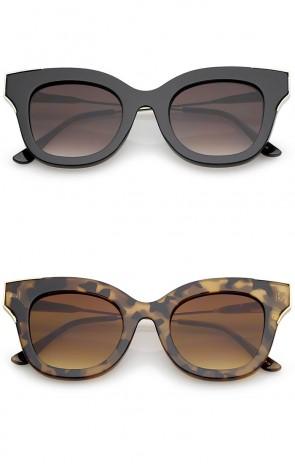Oversize Thick Slim Temple Metal Trim Square Flat Lens Cat Eye Sunglasses 48mm
