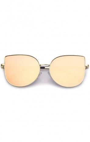 Women's Oversize Metal Pink Mirror Flat Lens Cat Eye Sunglasses 58mm