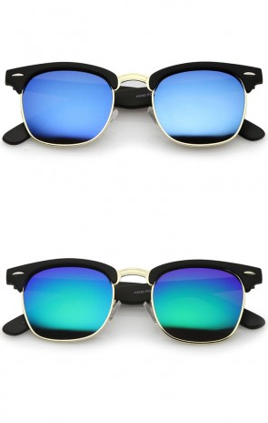 Rubberized Mirror Polarized Lens Half Frame Sunglasses 49mm