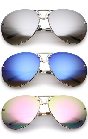 Oversize Rimless Metal Slim Arms Colored Mirror Lens Aviator Sunglasses 68mm