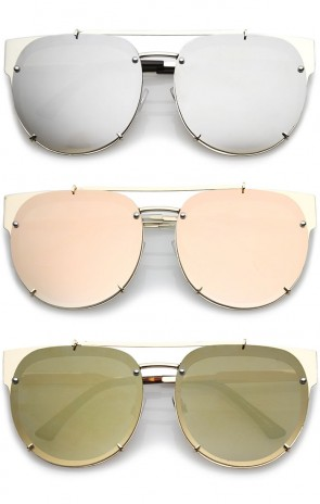 Oversize Metal Double Nose Bridge Horn Rimmed Super Flat Mirrored Lens Round Sunglasses 60mm