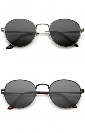 Classic Metal Neutral Colored Flat Lens Round Sunglasses 54mm