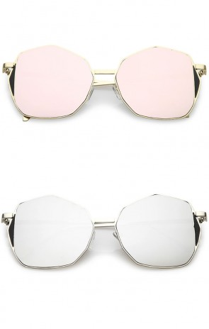 Oversize Slim Metal Arms Mirrored Flat Lens Geometric Sunglasses 59mm