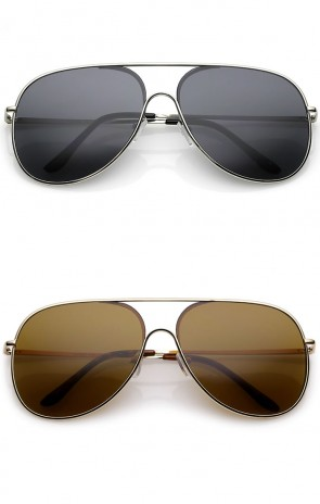 Classic Oversize Metal Semi Rimless Teardrop Flat Lens Aviator Sunglasses 62mm