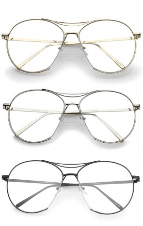 Oversize Semi-Rimless Brow Bar Round Clear Flat Lens Aviator Eyeglasses 59mm