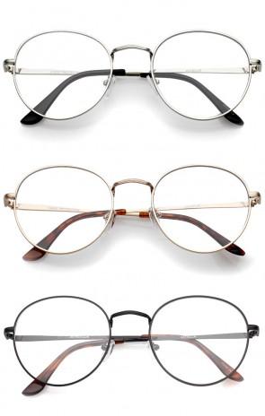 Classic Slim Metal Frame Clear Flat Lens Round Eyeglasses 52mm