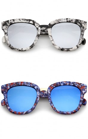 Marble Printed Metal Nose Bridge Trim Wide Temples Mirrored Flat Lens Horn Rimmed Sunglasses 50mm