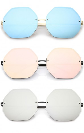 Women's Geometric Octagon Slim Arms Colored Mirrored Oversize Sunglasses 70mm