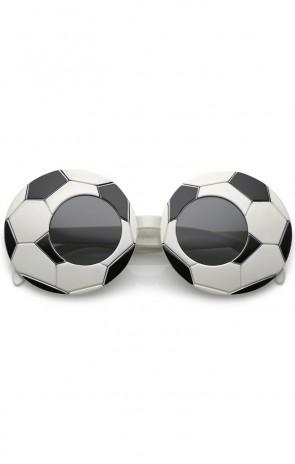 Novelty Oversize Sports Round Lens Soccer Sunglasses 38mm