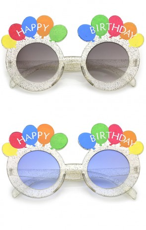 Novelty Translucent Glitter Balloons Round Lens Happy Birthday Glasses 45mm