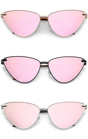 Oversize Ultra Thin Metal Pink Mirrored Flat Lens Cat Eye Sunglasses 60mm