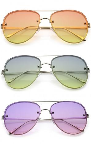 Oversize Rimless Thick Frame Gradient Flat Lens Aviator Sunglasses 60mm