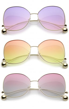 Women's Thin Metal Arms Ball Accent Color Gradient Flat Lens Oversize Butterfly Sunglasses 63mm