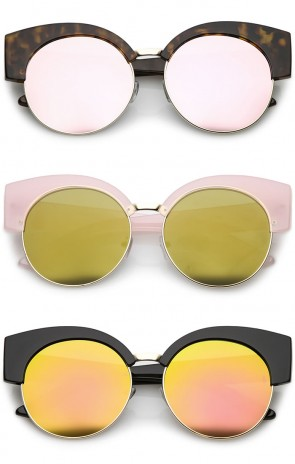 Women's Half Frame Oversize Mirrored Flat Lens Round Cat Eye Sunglasses 59mm