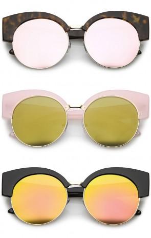 Women's Half Frame Oversize Mirrored Flat Lens Round Cat Eye Sunglasses 59mm