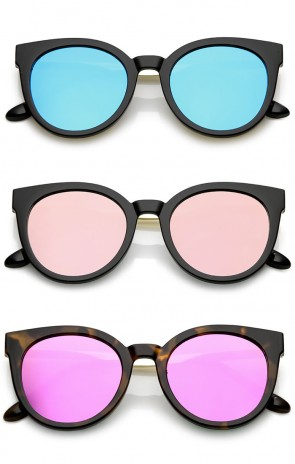 Classic Horn Rimmed Round Color Mirrored Flat Lens Cat Eye Sunglasses 53mm