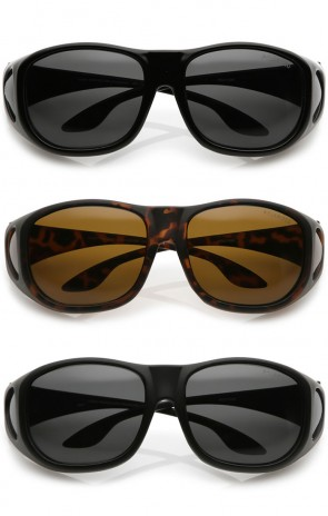 Oversize Side Covers Tapered Arms Round Polarized Lens Goggle Sunglasses 60mm