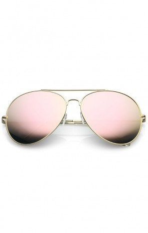 Women's Oversize Metal Pink Mirrored Lens Aviator Sunglasses 65mm