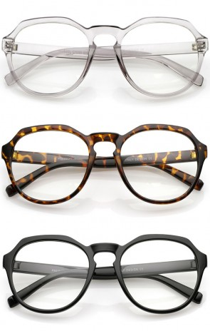 Modern Keyhole Nose Bridge Clear Lens Round Eyeglasses 55mm