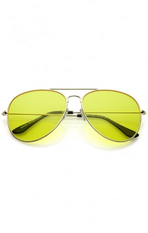 Oversize Metal Double Crossbar Yellow Tinted Driving Lens Aviator Sunglasses 60mm
