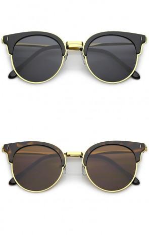 Semi-Rimless Plastic Slim Metal Arms Round Flat Lens Cat Eye Sunglasses 48mm