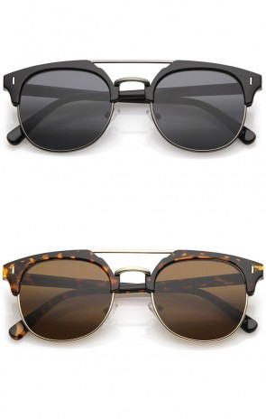 Classic Horn Rimmed Crossbar Round Flat Lens Half Frame Sunglasses 50mm