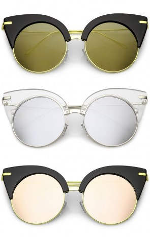 Oversize Half Frame Ultra Slim Arms Round Mirrored Flat Lens Cat Eye Sunglasses 54mm