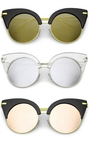 Oversize Half Frame Ultra Slim Arms Round Mirrored Flat Lens Cat Eye Sunglasses 54mm