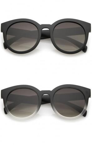 Women's Matte Horn Rimmed Flat Lens Round Sunglasses 54mm