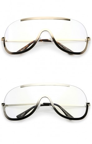 Oversize Semi Rimless Metal Trim Clear Mono Lens Shield Eyeglasses 78mm