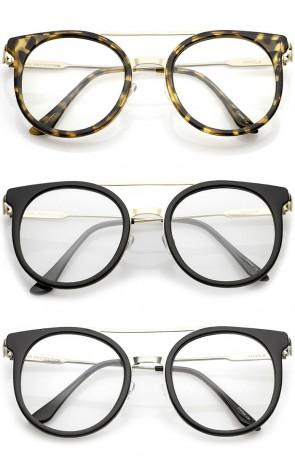 Horn Rimmed Double Nose Bridge Clear Lens P3 Round Eyeglasses 50mm