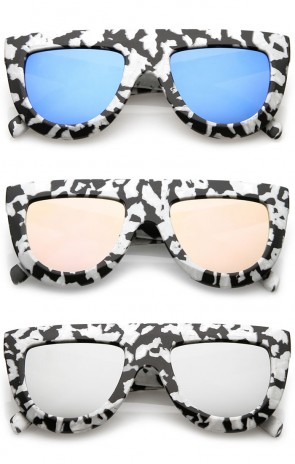 Oversize Chunky Matte Marble Print Wide Arms Flat Lens Flat Top Sunglasses 51mm