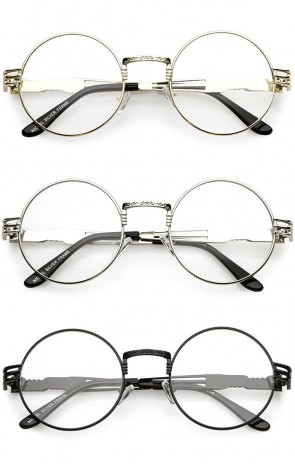 Classic Engraved Metal Arm Cutout Clear Flat Lens Round Eyeglasses 53mm