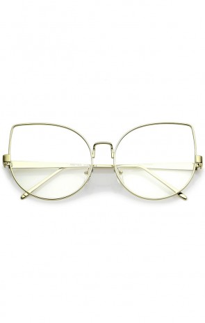 Oversize Slim Metal Frame Clear Flat Lens Cat Eye Glasses 63mm