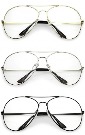 Classic Oversize Metal Double Crossbar Teardrop Clear Lens Aviator Eyeglasses 63mm