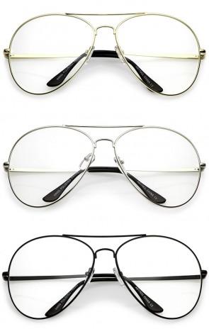 Classic Oversize Metal Double Crossbar Teardrop Clear Lens Aviator Eyeglasses 63mm