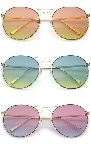 Oversize Metal Double Nose Bridge Round Gradient Flat Lens Aviator Sunglasses 65mm