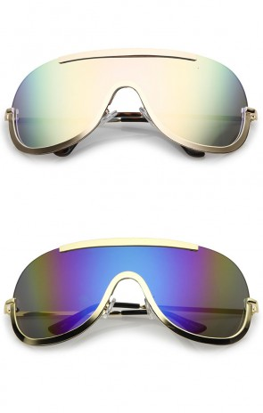 Oversize Semi Rimless Metal Trim Mirrored Mono Lens Shield Sunglasses 78mm