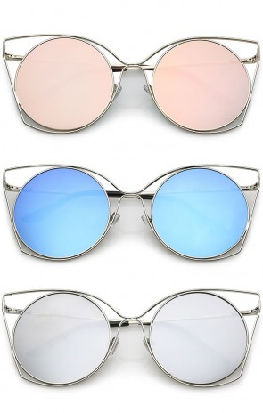 Oversize Slim Metal Cutout Flat Mirrored Round Lens Cat Eye Sunglasses 58mm