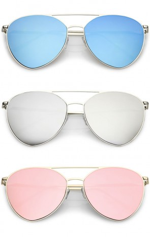 Oversize Thin Metal Double Crossbar Mirrored Flat Lens Aviator Sunglasses 62mm