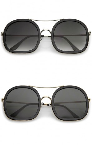 Oversize Double Crossbar Thin Metal Arms Flat Lenses Round Sunglasses 58mm