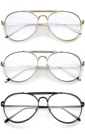 Oversize Metal Side Cover Triple Crossbar Clear Flat Lens Aviator Glasses 60mm