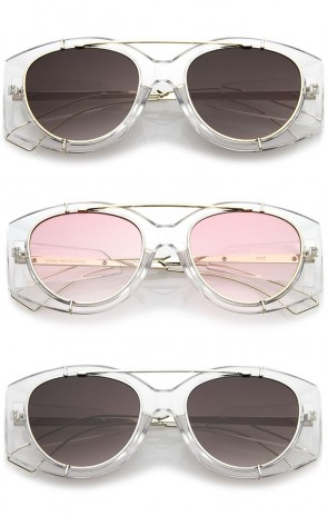 Futuristic Translucent Wire Metal Arms Crossbar Round Flat Lens Oversize Sunglasses 53mm